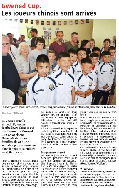 Le Télégramme Vannes - 13 Juin 2016
